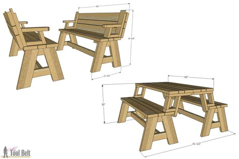picnic table bench plans convertible picnic table and bench buildsomething