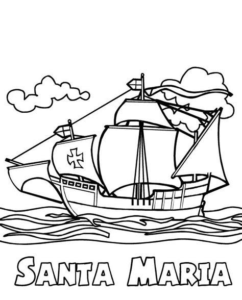 Christopher Columbus Boat Jesus by Columbus Fleet Santa Maria On Columbus Day Coloring Page