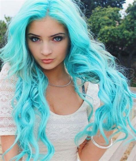 Bright Turquoise Blue Pastel Dyed Hair Color Hair Dye Colors