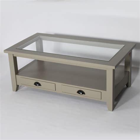 plateau de bureau en verre table basse bois massif taupe avec plateau en verre made