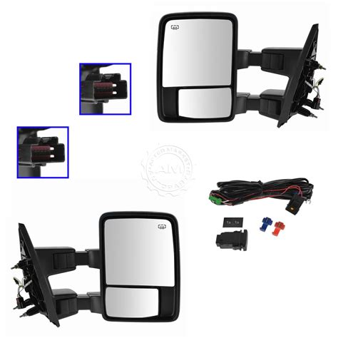 towing upgrade mirror power heated folding smoked signal dual arm pair for f150 ebay