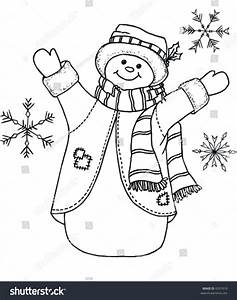 Black And White Snowman Vector - 6357619 : Shutterstock