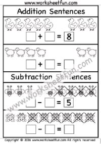 addition subtraction sentences three worksheets printable worksheets