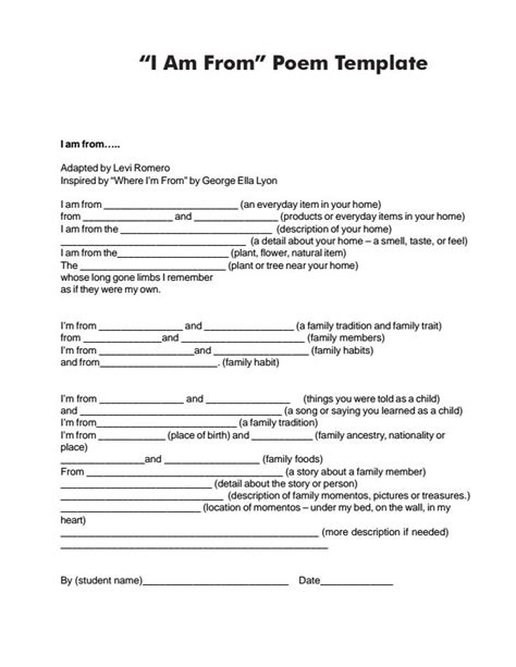 I Am Poem Template Handout Of Quot I Am From Quot Poem Template Poetry