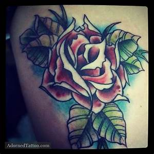 Neo-Traditional Red Rose Tattoo | Adorned Tattoo