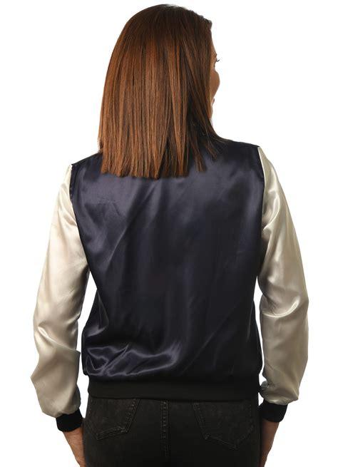 womens satin baseball jacket golden goods