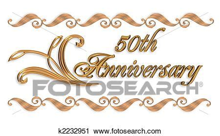Clipart of Wedding invitation border gold 50th k2232951