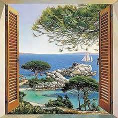 bild fenster zum meer leinwand murals pinterest With markise balkon mit leinwand tapete