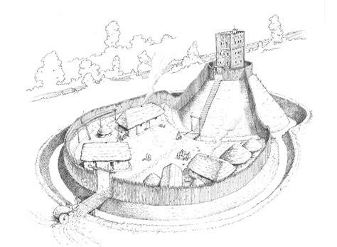 motte  bailey castle diagram labeled sketch coloring page