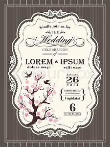 Vintage cherry blossom wedding invitation card border and for Blank wedding invitation templates vector