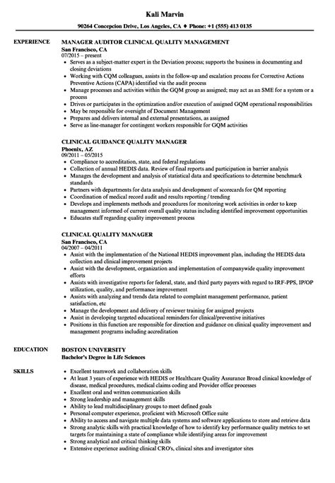 clinical quality manager resume sles velvet