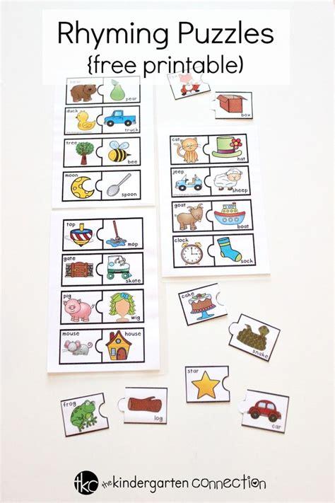 rhyming puzzles  kindergarten connection literacy