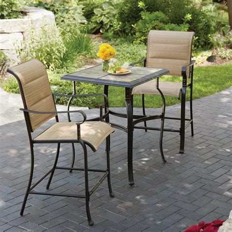 bistro table and chair set hton bay belleville 3 piece padded sling outdoor bistro