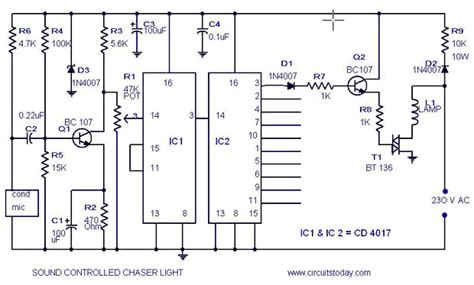 led light chaser circuit diagram musical light chaser circuit with diagram using ic cd4016