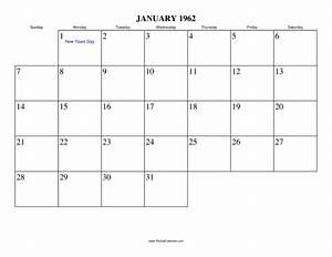 January 1962 Calendar