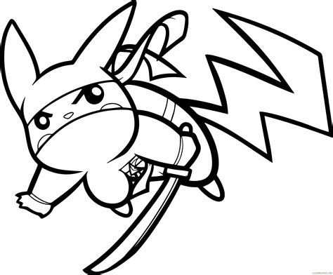pikachu ninja coloring page   thousands