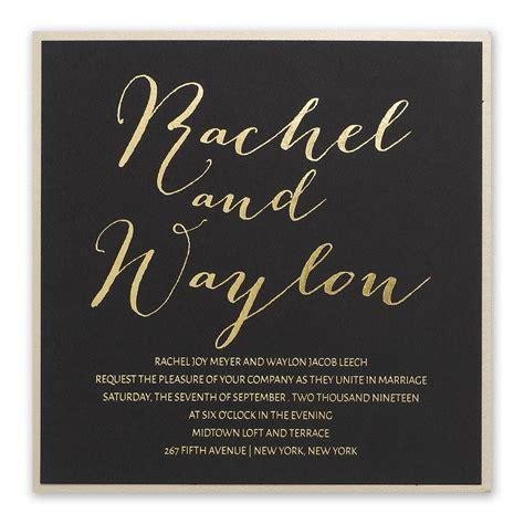 gold signature foil invitation invitations  dawn