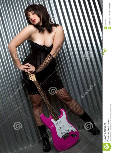 electric guitar girl stock photo image  guitarist