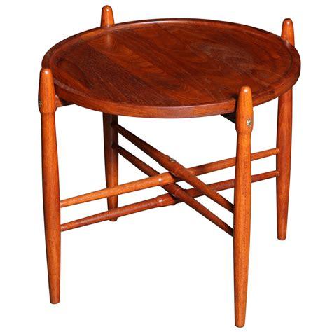 Danish Modern Round Teak Side Table With Raised Legs At