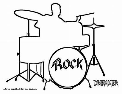 Drums Drum Instrument Coloring Drawing Drummer Musical
