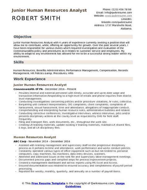 Hr Resume Sle by Hr Analyst Resume Bijeefopijburg Nl
