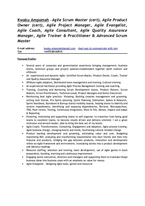 Certified Scrum Product Owner Resume by Kwaku Omah Agile Scrum Consultant Cv 1