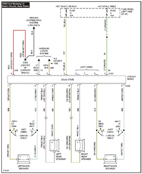 Ford Mustang Stereo Wiring Diagram by 1990 Mustang System Wiring Diagrams Radio Circuits Base