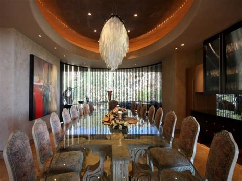 large luxury dining room  glass table  crystal
