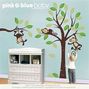 wall decals three monkeys and tree nursery wall decor With funny monkey wall decals for nursery