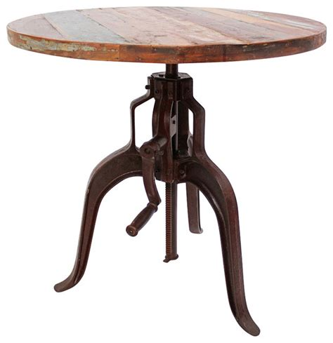 industrial iron and wood crank table rustic indoor pub