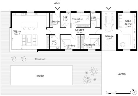 plan plain pied 4 chambres plan maison plain pied avec piscine ooreka