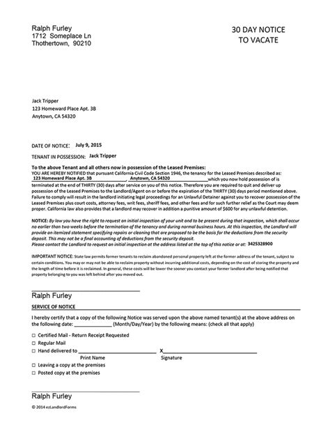 30 day notice letter 8 30 day notice letter to landlord sample notice letter 20093 | 30 day notice letter to landlord sample 14475