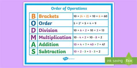 order  operations bodmas poster order operations bodmas