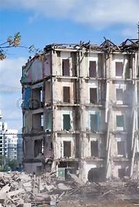 Demolition of building in smoke | Stock Photo | Colourbox