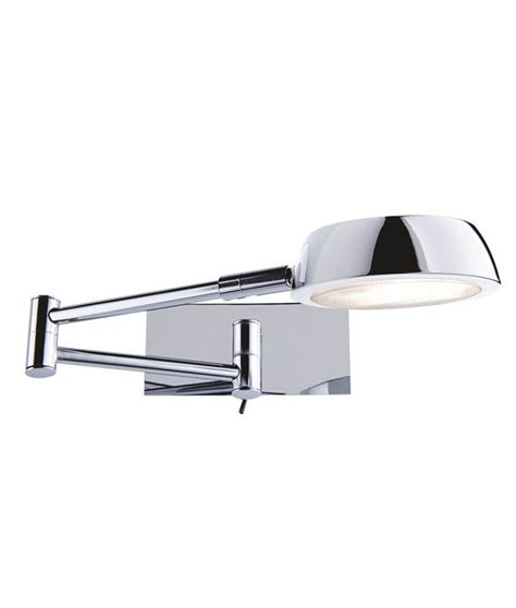 extending bedside reading light in polished chrome and low