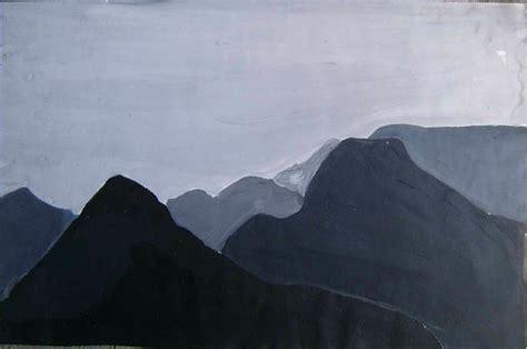 degrade collines en noir  blanc peinture gouache