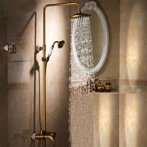 antique brass bathroom shower set faucet rain shower