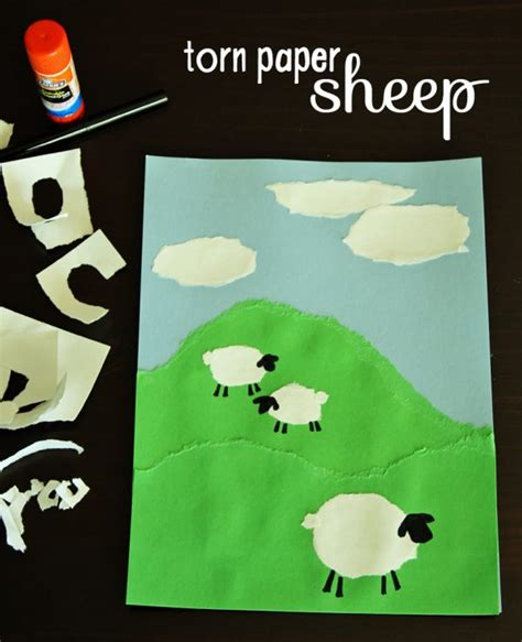 torn paper sheep project make and takes 805 | torn paper sheep craft 600x738