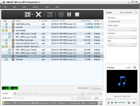 (back) (play) (pause) (next) (download). Xilisoft MP4 to MP3 Converter: Convert WMV, AVI, RM, MP4 to MP3