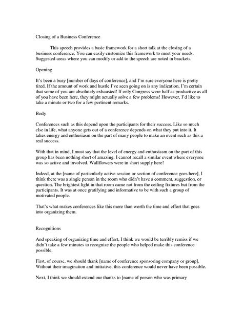 conference opening speech template 10 best images of sle memorial service speech eulogy