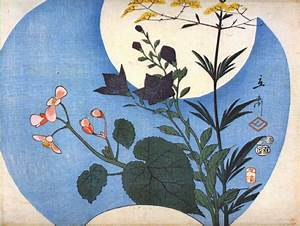 Autumn flowers in front of full moon, 1853 - Hiroshige ...