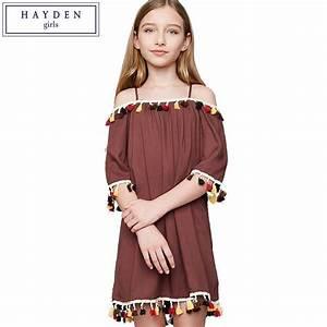 HAYDEN Tassel Dress Kids Off Shoulder Dresses For Girls ...