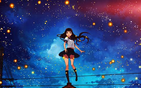 au girl anime star space night illustration art flare