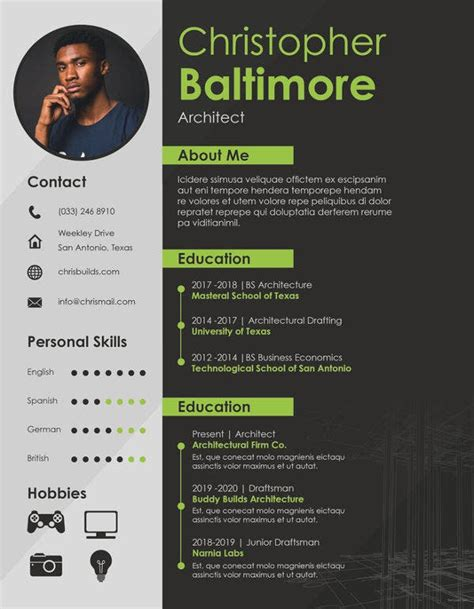architect resume template   word  documents