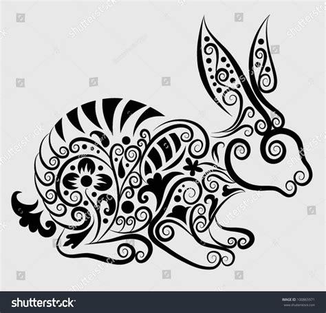 decorative flower and leaf designs decorative rabbit rabbit flora ornaments leaf stock vector 100865971 shutterstock