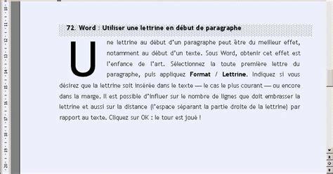 sous bureau original word créer une lettrine en début de paragraphe