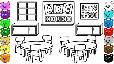 Classroom Coloring Pages Kindergarten Classroom Coloring Book For Children