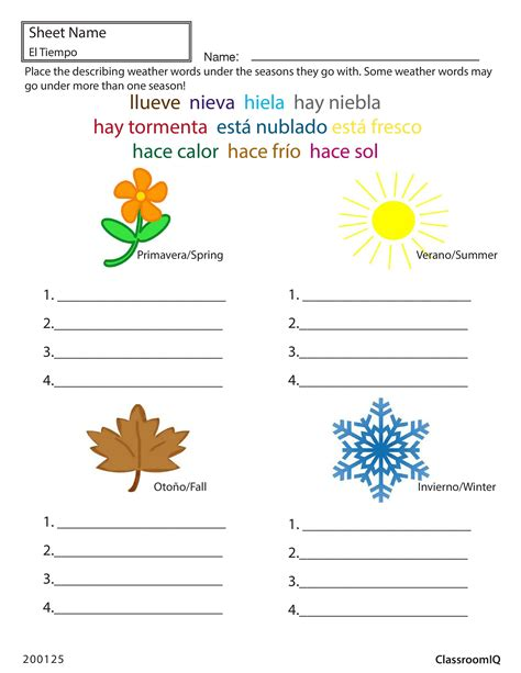 weather and seasons in spanishworksheets