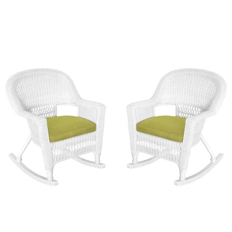 white rocker wicker chair with green cushion set of 2