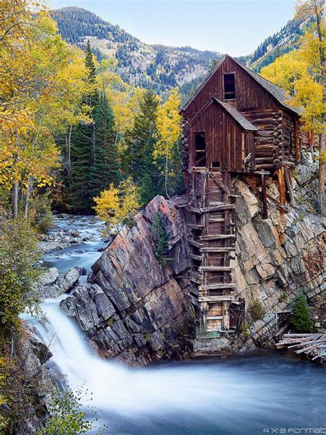 crystal mill fall loose print autumn colors  crystal river waterfall marble aspen